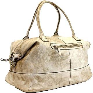 BZNA Bag Joe creme used look Italy Designer Weekender Damen Reise Tasche Handtasche Schultertasche Leder Shopper Neu