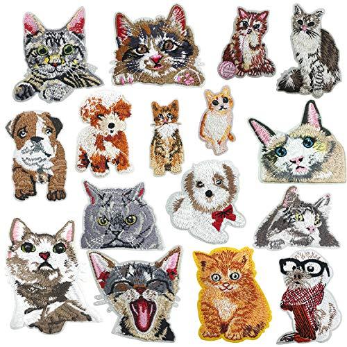 Woohome Super süße Katze Set und Hund Patches zum Aufbügeln, 16 Stück Patch Sticker für Kleidung Blumen Aufnäher Applikation Flicken Zum Aufbügeln Kinder Patches für für DIY T-Shirt Jeans