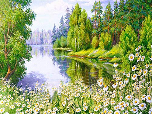 5D DIY Diamond Painting by Number Kit Spring Landscape Square Drill,120x90cm Adults and Kids Full Drill Beads Crystal Rhinestone Embroidery Cross Stitch Supplies Arts Craft for Home Wall Decor U3613