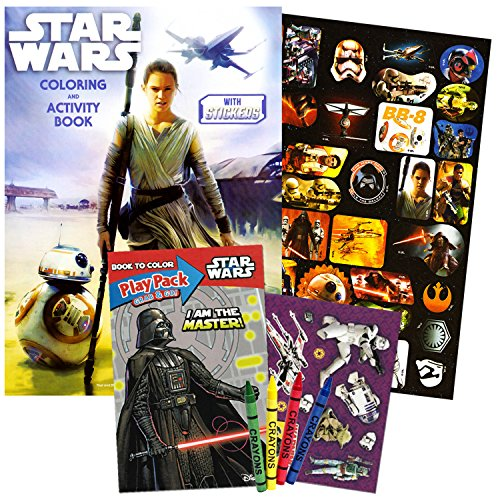 Star Wars The Rise of Skywalker Coloring Book Set with Stickers and Crayons (Jumbo Coloring Book with Playset Pack Featuring Star Wars Toys Rey, BB8 and More)