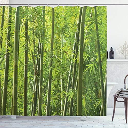 ABAKUHAUS Bambus Duschvorhang, Exotische Tropische Bambus, Digital auf Stoff Bedruckt inkl.12 Haken Farbfest Wasser Bakterie Resistent, 175 x 240 cm, Grün