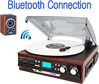 Boytone BT-37M-C Bluetooth 3-Speed Stereo Turntable, Wireless Connect to Devices Speaker(Bluetooth Out Transfer), 2 Built-in Speakers, LCD Display, AM/FM Radio, USB/SD/AUX+ Cassette Player/MP3