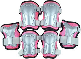 LIOOBO Kids Knee Pads Set 6 in 1 Kit Protective Gear Knee Elbow Pads Wrist Guards for Skateboard Biking Riding Cycling Rollerblading Rosy Size L