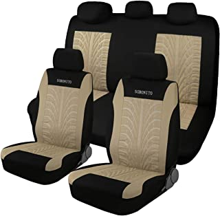 SOBONITO Car Seat Covers Full Set,Deep Tire Tracks Pattern,Universal Size(tireful-bei)