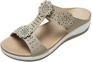c4496f3d6cbdcb TOPKEAL Sandales Femme, Printemps Été Chaussures Fleurs de Cristal  Chaussures de Plage Occasionnels Chaussons Fille