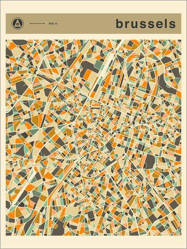 Poster 50 x 70 cm: Brüssel Karte von Jazzberry Blue - hochwertiger Kunstdruck, neues Kunstposter