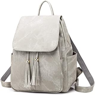 Daypacks Backpack Purse for Women Anti Theft, Fashion PU Leather Travel Bag Shoulder Daypack Womens Backpack (Color : Gray)
