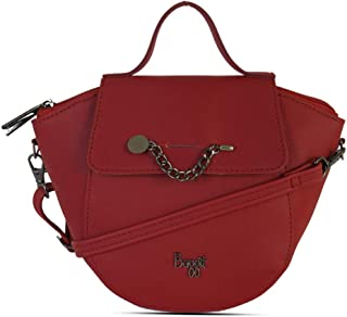 Baggit Autumn-Winter 2020 Faux Leather Women's Saddle Bag (Red) (Gorge)