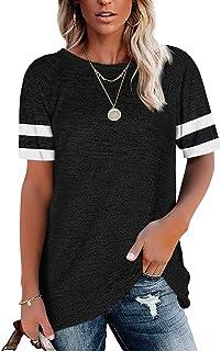 Summer Women's Short Sleeve T-Shirt Crew Neck Striped...