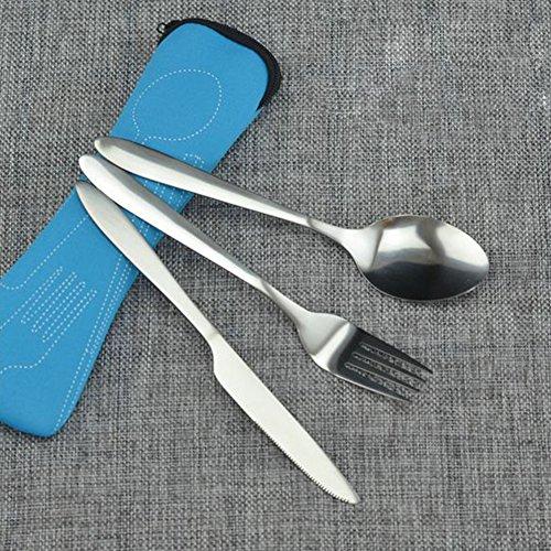 Set di posate, in acciaio inossidabile, per esterni, viaggi, da campeggio, con custodia in neoprene, con coltello, cucchiaio, forchetta Taglia libera Blue