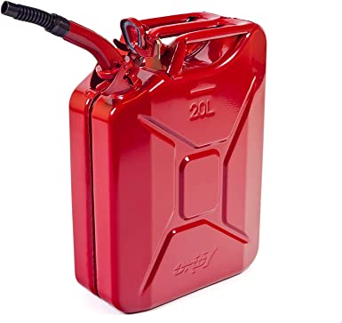 Oxid7® Jerry Can 20L Metal with Spout - for Petrol, Diesel - UN-Approved - TÜV Rheinland Certified - Pouring Time under 25 seconds, leak free - Type Inspected - Wall thickness 0.9 mm Steel - Red: image