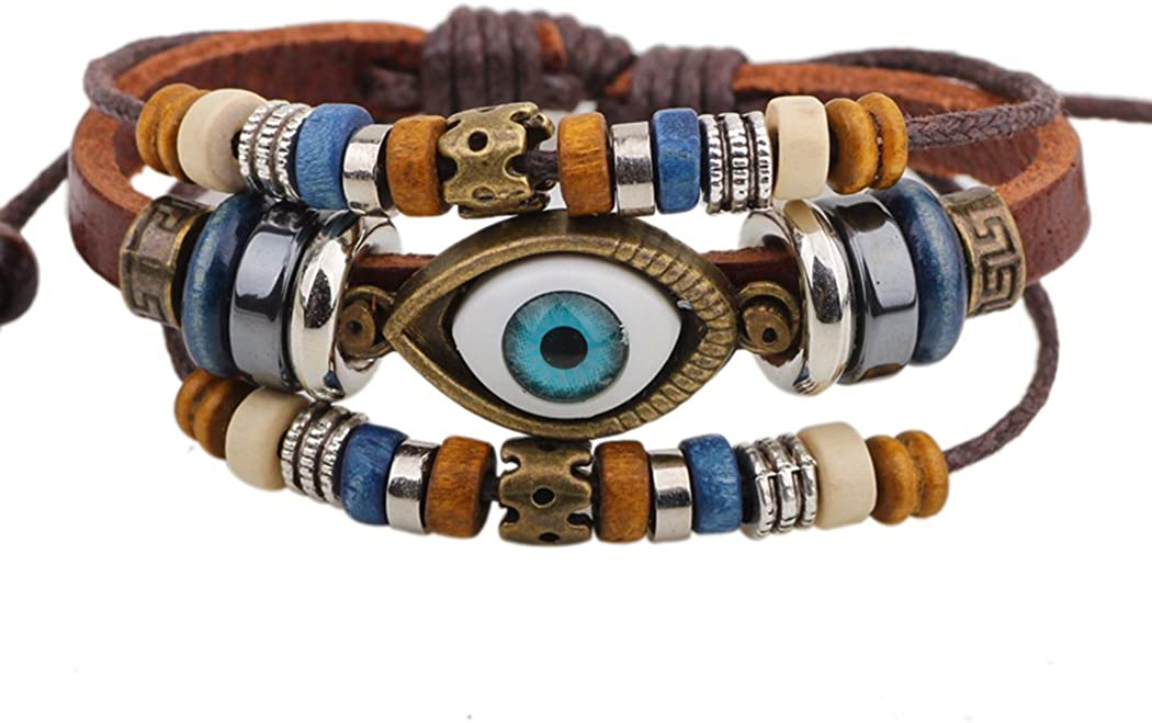 Real Spark Vintage Max 61% OFF Mystic Eye Charm 3 Bea Bracelet Leather Wrap Spring new work one after another