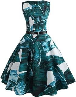 O-Neck Sleeveless Knee-Length Dress For Women Banana Leaf Print A-Line Sexy Dresses For Women