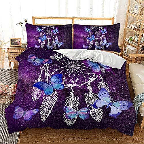 Dreamcatcher Bedding Set,Butterfly Duvet Cover Set Include 2 Pillowcases,Galaxy Theme Dreamcatcher Comforter Cover for Kids Teens Adults,Queen