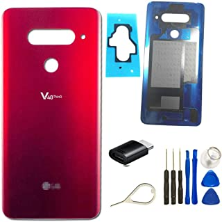 V40 Back Glass Replacement Parts Waterproof Battery Back Cover Panel Assembly for LG V40 ThinQ V405QA7 V405UA V405TAB V405UA1 +Micro USB to Type-C Adapter Eject Pin Tools (Carmine Red)