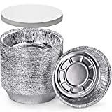 DecorRack 14 Round Aluminum Pan Disposable with Flat Board Lid, 7 Inch Heavy Duty Foil Pans, Perfect for Reheating, Baking, Roasting, Meal Prep, To-Go Containers, Environmentally Friendly (Pack of 14)