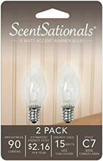 15W Replacement Incandescent Bulbs 2 Pack for Scentsationals Accent Candle Wax Warmer - Fits any C7 Light Bulb SocketCLEARANCE ITEM