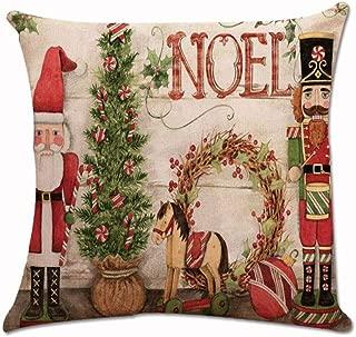 Guo Nuoen Christmas Pillow Case Decorative Linen Cotton Square Sofa Cushion Cover Xmas Home Winter Snow Tree Car Seat