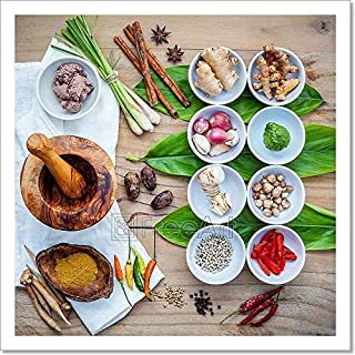 Barewalls Various of Thai Food Cooking Ingredients for Spice Red Curry Paste Ingredient Paper Print Wall Art (12in. x 12in.)