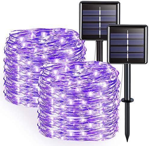 JMEXSUSS 2 Pack Purple Solar String Lights Outdoor Waterproof 33ft 100 LED Solar Fairy Lights product image