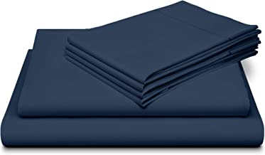 Dream Castle Linens 800 Thread Count 100% Long Staple Soft Cotton SheetSet with Bonus Pillowcases,6 Piece Set,King Sheets,Smooth Sateen Weave,Deep Pocket,Luxury Bedding,Marrow Hem,Dark Denim