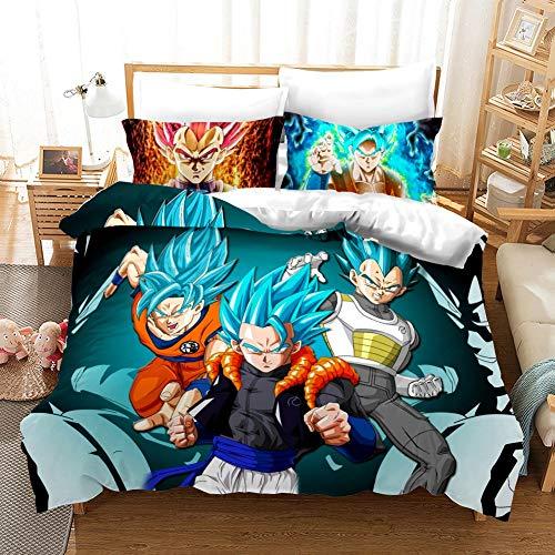 Dragon Ball Funda nórdica 3D Anime Dragon Ball Juego de Cama 2 Piezas Incluyen 1 Funda nórdica y 1 Fundas de Almohada, Funda de edredón de Anime para niños (2, Individual 135 x 200 cm)