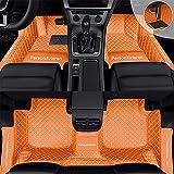 Alfombrillas de coche personalizadas para Rolls-Royce Ghost Cullinan Dawn Silver Spur Phantom Wraith, de piel sintética, cubre el umbral del coche, antideslizante, para todo tipo de climas (naranja)