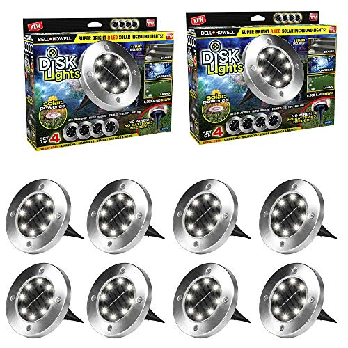 Bell + Howell 8 LED Solar Garden Lights for Outdoor Patio, Pathway, Lawn, Yard, Driveway & More – No Batteries Needed, Auto On/Off, Waterproof & Stake Included– 8 Pack, Original As Seen on TV