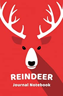 Reindeer Notebook Journal: Zoo Farm Animal Face Close Up Note Book Journal Diary, Cool Christmas Gift for Men, Women, Kids...