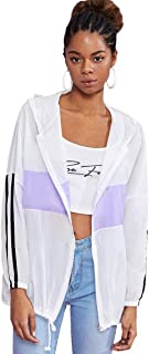 ROMWE Women's Colorblock Long Sleeve Loose Zip Up Drawstring Windbreaker Hoodie Jacket White X-Large