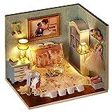 Cuteroom DIY Holzpuppen Haus Handwerk Miniatur Kit - Schlafzimmer Modell & alle Möbel -