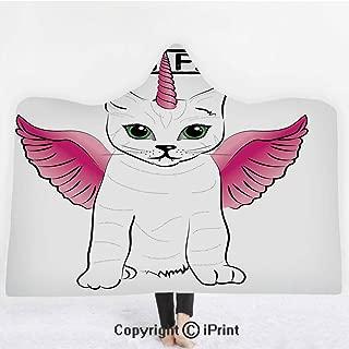 "Unicorn Cat 3D Print Soft Hooded Blanket Boys Girls Premium Throw Blanket,Urban Fantasy Theme Cat Figure with Pink Wings and Horn Vintage Fiction Art,Lightweight Microfiber(Kids 50""x60"") Pink Black"