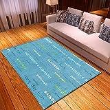 Dayoyo Große Rugs Teppiche Kleine Fläche Dicken Antifouling HD Anti Slip Flauschigen Teppich,L2904 Blauer Buchstabe Waschbares Schlafzimmer Zusatz Hauptwohnzimmer der Retro modernen Art-160x300cm