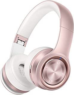 Best Picun P26 Bluetooth Headphones Over Ear 40H Playtime Hi-Fi Stereo Wireless Headphones Girl Deep Bass Foldable Wired/Wireless/TF for Phone/TV Bluetooth 5.0 Wireless Earphones with Mic Women (Rose Gold) Review
