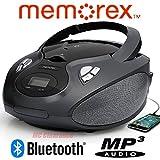 Bluetooth CD/MP3 Boombox AM/FM Tuner with Digital Display Memorex MP3451BLK - Black (Renewed)