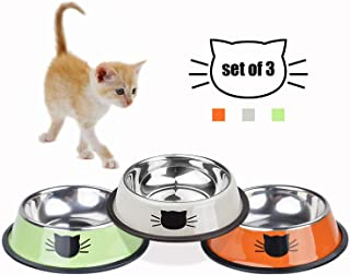 TOMAS Cat Bowls Stainless Steel Dog Bowl for Small Pets Puppy Kitten Non-Skid Cat Food Bowls Easy to Clean Durable Cat Dish for Food and Water