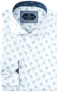 White Blue Polka-Dot Pattern Italian Pure Cotton Sport Shirt Canaletto