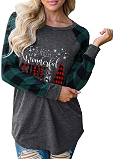 Womens Long Sleeve Blouse Merry Christmas Plaid Tree Shirt Loose Casual Pullover Sweatshirt Tunic Tops
