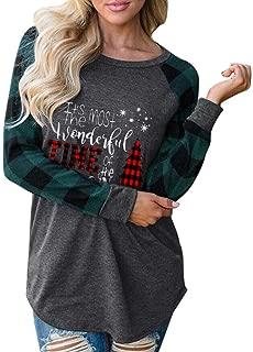 Lutos Long Sleeve Christmas Shirts for Women Letters Print Christmas Plaid Graphic Tee Shirts Tops