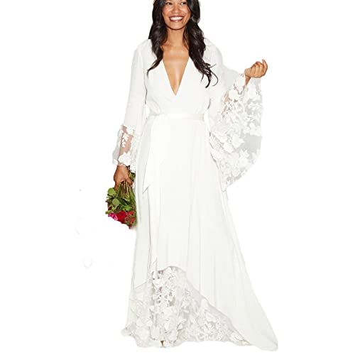 a3fe31b929fc Dressesonline Women's Winter Bohemian Wedding Dresses Bridal Gowns with Long  Sleeves