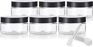 Clear PET Plastic (BPA Free) Refillable Low Profile Jar - 4 oz (6 Pack) + Spatulas