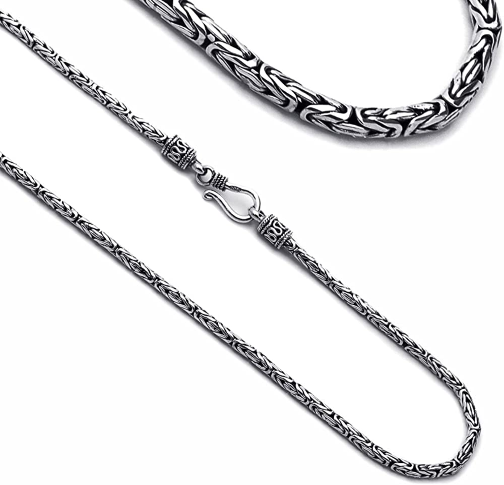New Free Shipping Prime Pristine Sterling New popularity Silver Neckl Chain 2.5MM Byzantine