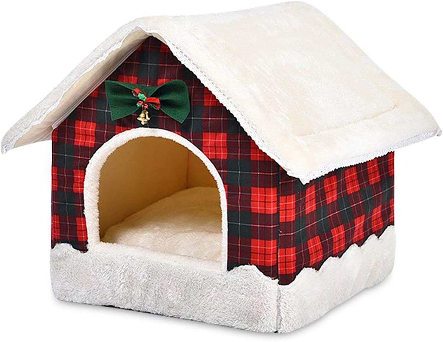Byx Cat Nest Four Seasons General Puppy Dog Winter Kennel Winter Warm Pet Cat Supplies Small Dog Teddy Keji Bomei Closed Yurt Removable Washable Autumn Winter Creative Egg Tart House New Year House O
