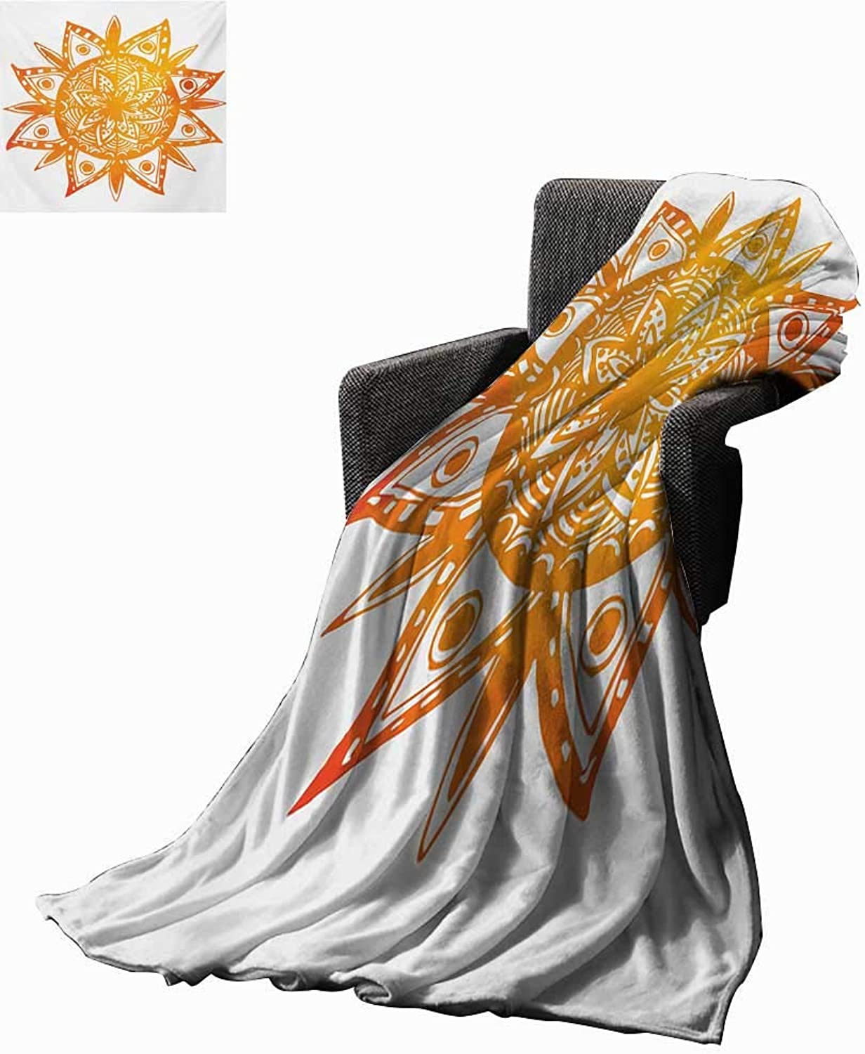 orange Weave Pattern Extra Long Blanket Watercolor Style Hand Drawn Sun Figure Tribal Ethnic Mandala Artistic Asian Print,Super Soft and Comfortable,Suitable for Sofas,Chairs,beds