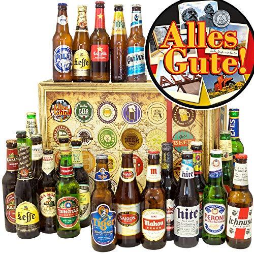 Alles Gute + 24er Bier Set Welt + Geburtstagsgeschenke + Advent Kalender Bier