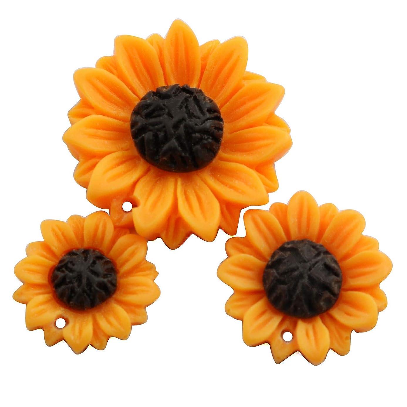 NX Garden 12PCS Orange Sunflower Girasoles Daisy Flowers Resin Flatback Cabochon with Hole for Necklace Earrings Ring Bracelet Handmade DYD 3 Size