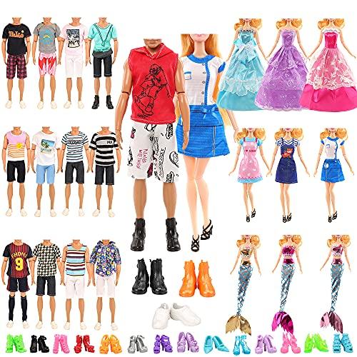 Miunana 19 piezas para 30cm Niña Muñeca (3 vestidos de moda +...