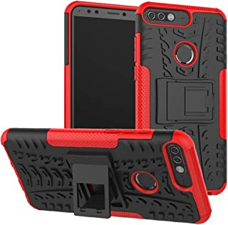 Honor 7c / Nova 2 Lite / Y7 Prime 2018 case,LiuShan Shockproof Heavy Duty Combo Hybrid Rugged Dual Layer Grip Cover with Kickstand for Huawei Honor 7c / Nova 2 Lite / Y7 Prime 2018 Smartphone,Red