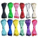 Ewparts 12 Paquetes 1.5mm Satin/Rattail Cuerda de Seda para Collar Pulsera cordón de Reborde para joyería Haciendo Accesorios, 20 Metros Cada uno (2.5mm)