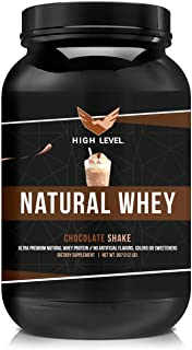 High Level Natural Whey Protein Powder | Chocolate Shake with Stevia | 29g Protein | 2 lb, Ultra Filtered N...
